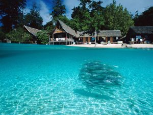 Split-View of Sipadan Island, Borneo